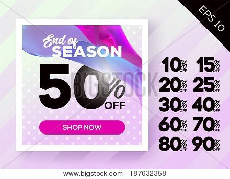 Romantic Spring Sale Poster with Polka Dot Lavender Background and Flying Silk. Ready Bright Vector Sale Template. Advertising for Cloth Shop Online Store Web Banner Poster Flyer.