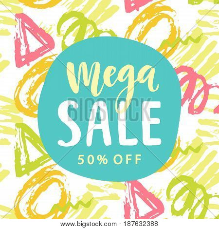 Mega Sale banner template with modern calligraphy and colorful geometric shapes pattern. Flyer background, vector illustration
