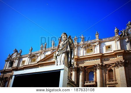 Statue of St. Peter in front of St. Peter's Basilica , Italy