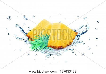 Pineapple water splash isolated on a white background