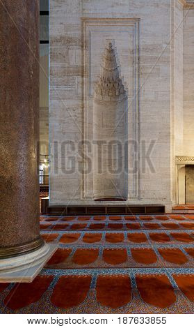 Marble wall with embedded niche in the exterior wall of Sultan Ahmet Mosque Istanbul Turkey