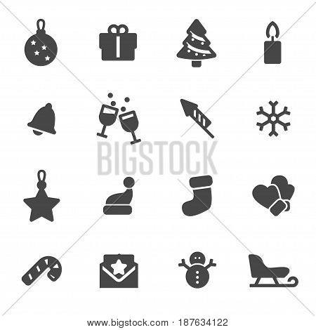 Vector black Christmas icons set on white background