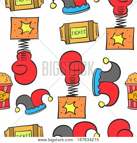 Doodle cute circus theme collection vector illustration