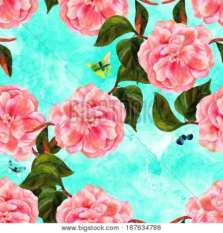 A seamless pattern with a vintage style watercolor drawing of a tender pink camellia flower in bloom, on a branch with green leaves, with teal and green butterflies, on a vibrant texture