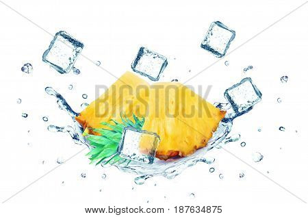 Pineapple splash water and ice cubes isolated on a white background