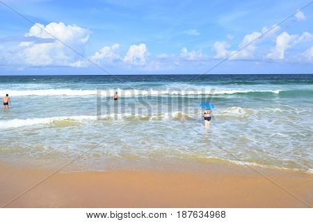 Sea sand beach beautiful sky Phuket Thailand