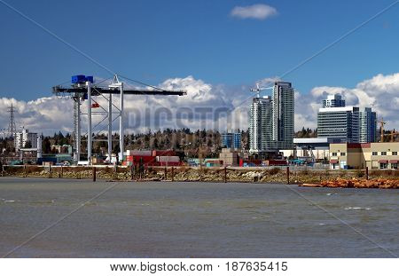 River Industrial Zone and  construction site on the background of cloudy sky in Vancouver City.