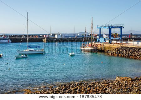 Playa Blanca, Lanzarote, 29 March, 2017: Boats And Yachts In Rubicon Marina, Lanzarote, Canary Islan