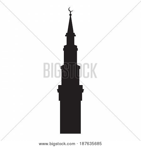 Vector picture of the silhouette of the mosque turret with a crescent flat icon.