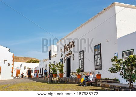 Tequise, Lanzarote Island, Spain - March 30, 2017: View Of The City Center Of Teguise, Former Capita