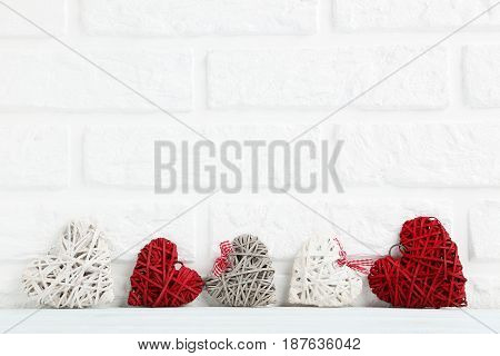 Love Hearts On A Brick Wall Background