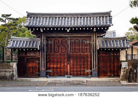 Wooden Gate At The Ancient Palace In Kyoto, Japan