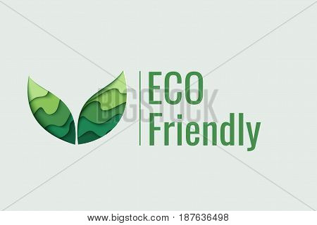 Eco Friendly background. Vector 3d paper cut eco friendly concept design. Paper carving layer green leaves shapes with shadow