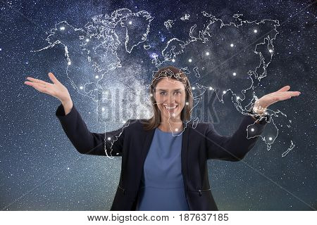 Business woman globalization concept. Business woman globalization concept.