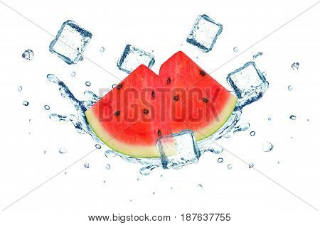Watermelon splash water and ice isolated on white background