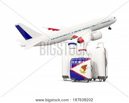 Luggage With Flag Of American Samoa. Three Bags With Airplane