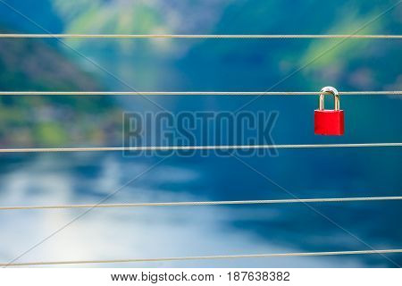 Red Padlock And Geirangerfjord From Flydasjuvet Viewpoint Norway