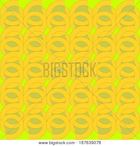 Abstract geometric modern background. Regular round pattern, yellow and pale green spirals on lemon lime green overlaying.