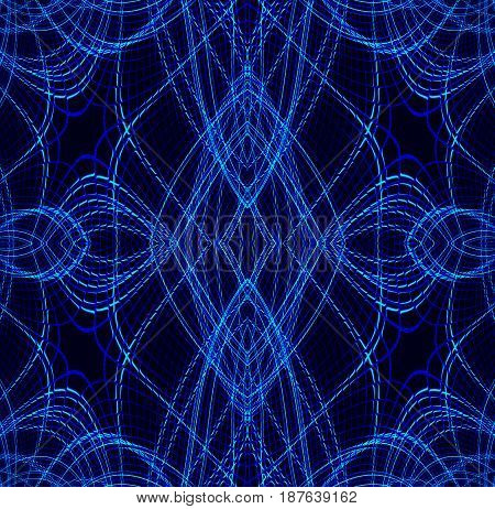 Abstract geometric dark background. Regular ellipses and diamond pattern with dark blue outlines on black.