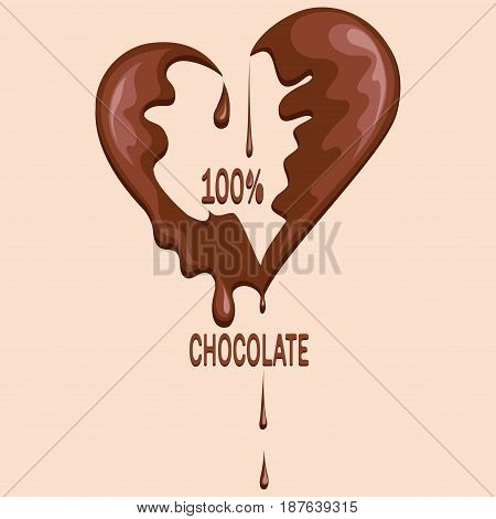 Chocolate heart. Melted chocolate. Spot. Seal of chocolate in the form of heart. Logo, realistic chocolate, isolated on white background. Vector image.