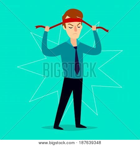 The businessman severely ties up a bandage on his head. Vector illustration.