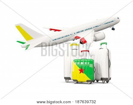 Luggage With Flag Of French Guiana. Three Bags With Airplane