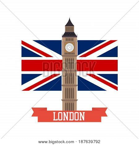 London concept. Big ben flat design with england flag isolated