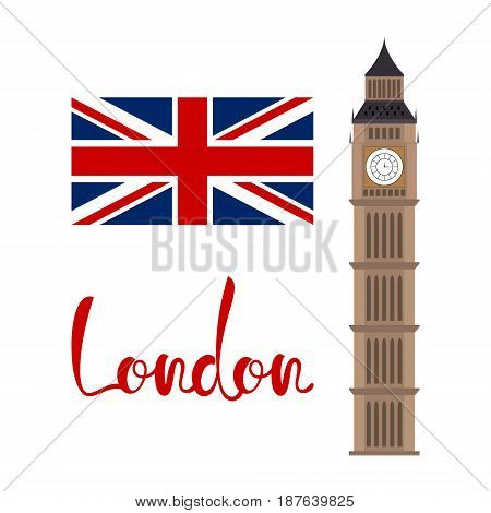 London concept. Big ben tower with flag and lettering isolated