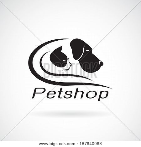 Vector of an dog and cat design on white background. Petshop