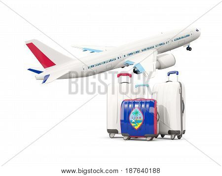 Luggage With Flag Of Guam. Three Bags With Airplane