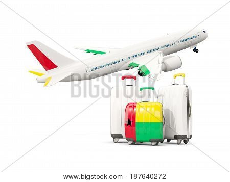 Luggage With Flag Of Guinea Bissau. Three Bags With Airplane