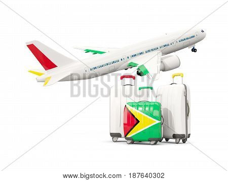 Luggage With Flag Of Guyana. Three Bags With Airplane