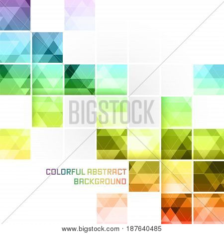 Colorful Abstract Vector Background. Square Mosaic Pattern.