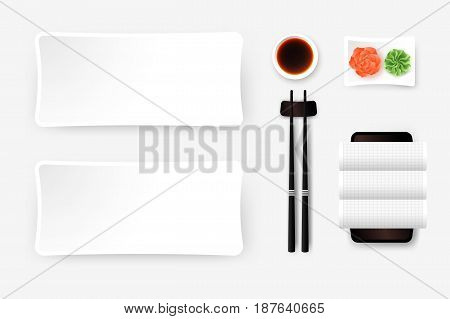 Top View Of White Empty Sushi Plate With Saucer Ginger Wasabi Towel And Chopsticks. Vector Template Food Design Element.