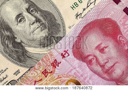 US dollar bill and China yuan banknote macro, Chinese and USA economy finance trade business, money closeup poster