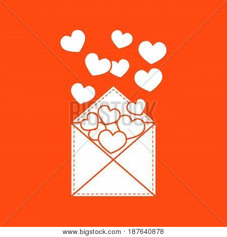 Cute Vector Illustration Of Postal Envelope With Hearts.