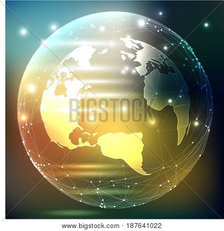 The vector illustration on dark background - planet Earth with pieces of light, flashes.