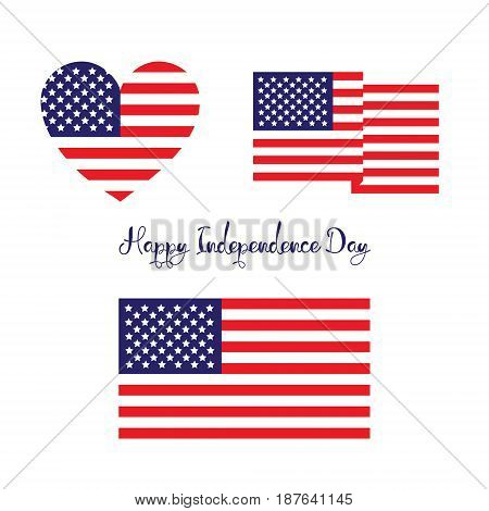 Happy independence day concept. Usa flg set isolated