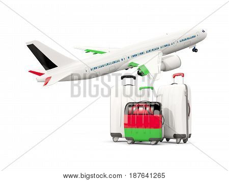 Luggage With Flag Of Malawi. Three Bags With Airplane