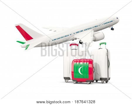 Luggage With Flag Of Maldives. Three Bags With Airplane