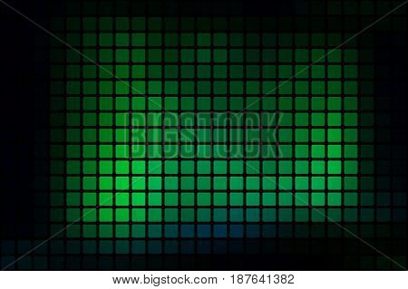 Glowing Neon Green Abstract Rounded Mosaic Background Over Black