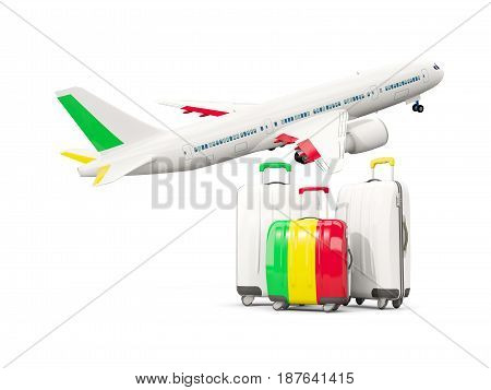 Luggage With Flag Of Mali. Three Bags With Airplane