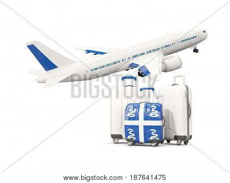 Luggage With Flag Of Martinique. Three Bags With Airplane