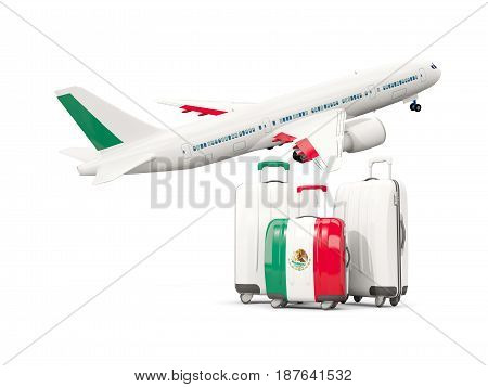 Luggage With Flag Of Mexico. Three Bags With Airplane