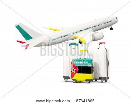 Luggage With Flag Of Mozambique. Three Bags With Airplane