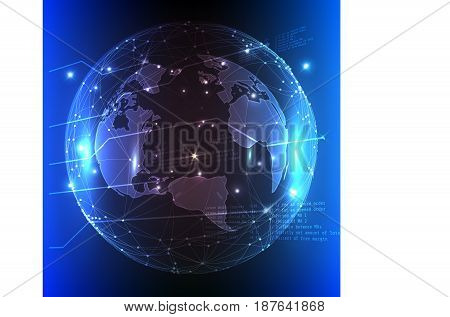 Image on white background - olanet Earth with light spots in blue colour.