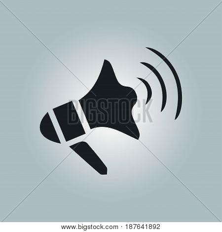 Megaphone soon icon. Loudspeaker symbol. News and Urgent ads.