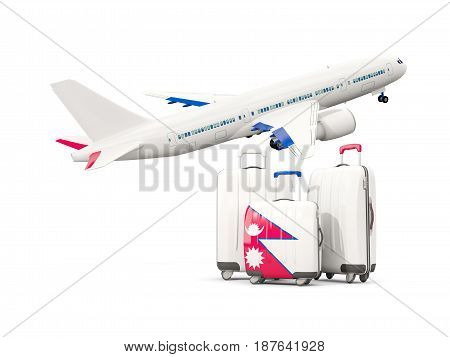 Luggage With Flag Of Nepal. Three Bags With Airplane