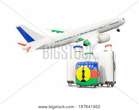 Luggage With Flag Of New Caledonia. Three Bags With Airplane