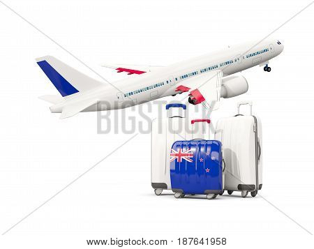 Luggage With Flag Of New Zealand. Three Bags With Airplane